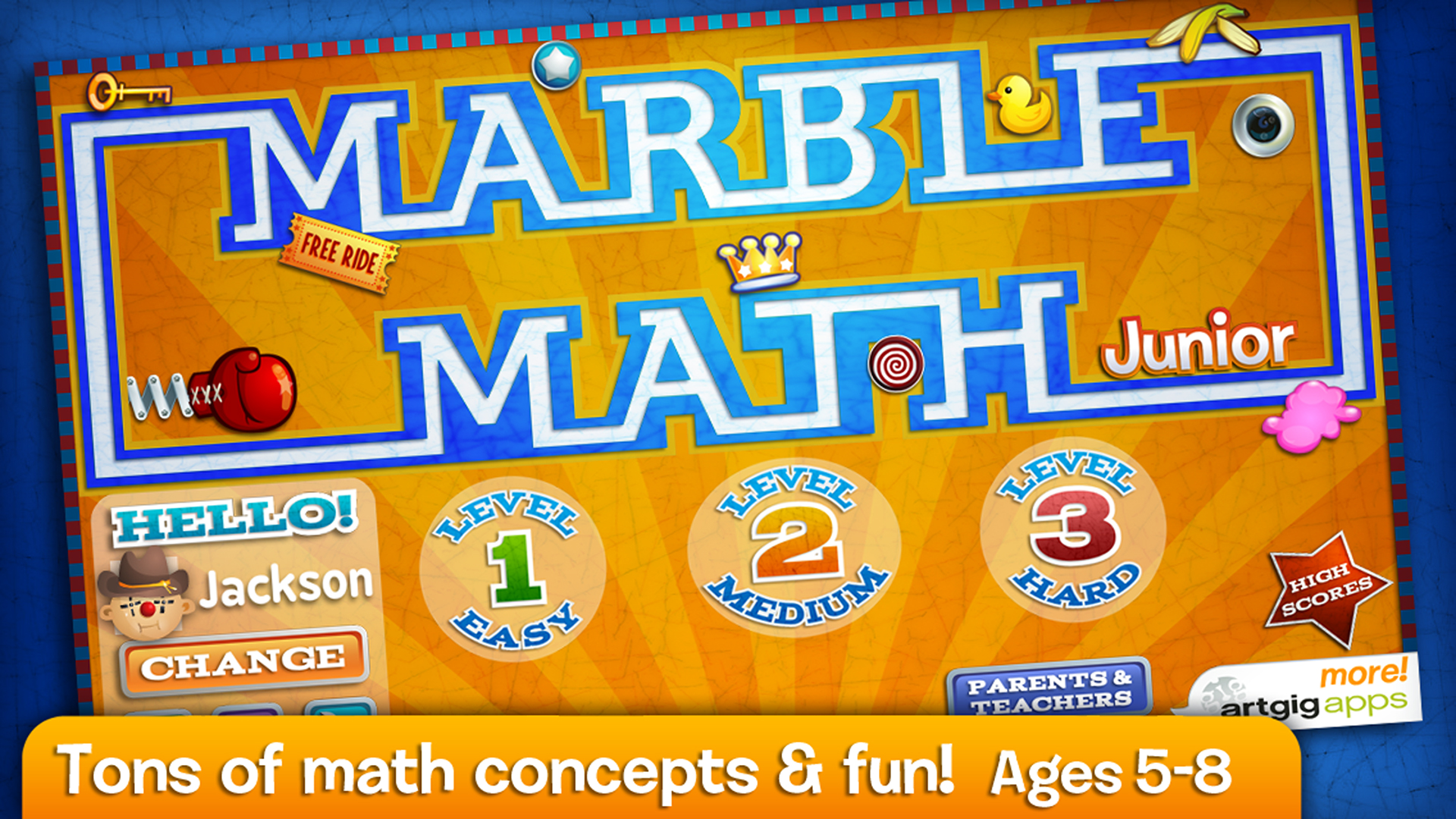 This math app consists of three difficulty stages and 16 marble styles that complement kids' personality and knowledge.