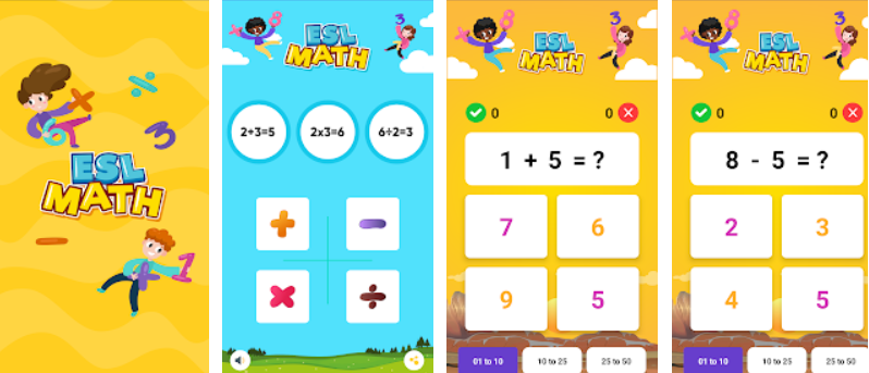 ESL Math Learneris a perfect math game for children of all ages to improve their mental arithmetic level.